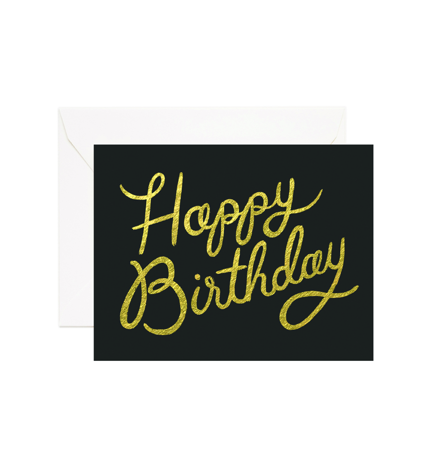 Black N Gold Happy Birthday Card